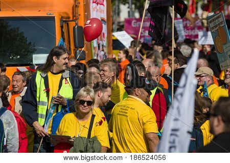 BERLIN - MAY 01 2016: Members of trade unions workers and employees at the demonstration on the occasion of Labour day.