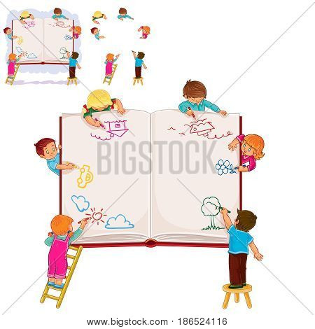 Set of vector illustrations. icons of happy children together draw on a large sheet of book