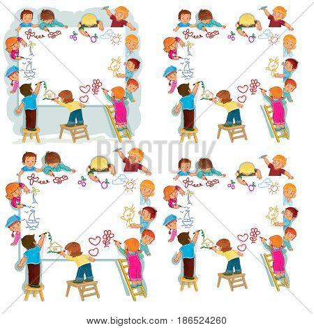 Set of vector illustrations, icons of happy children draw on a large sheet of paper