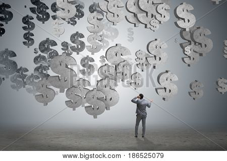Businessman in financial concept with american dollar