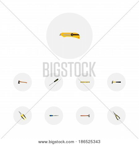 Realistic Claw, Stationery Knife, Nippers And Other Vector Elements. Set Of Construction Realistic Symbols Also Includes Noise, Clippers, Chisel Objects.