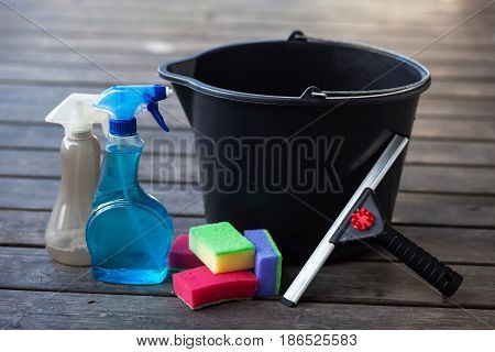 Different kinds equipment for cleaning. Housework objects