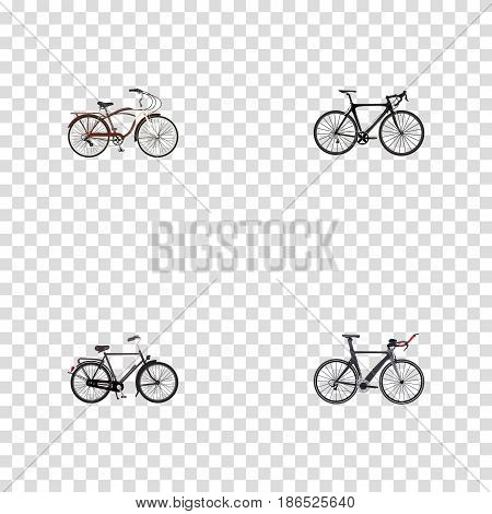 Realistic Journey Bike, Exercise Riding, Training Vehicle And Other Vector Elements. Set Of Lifestyle Realistic Symbols Also Includes Triathlon, Cruise, Bike Objects.