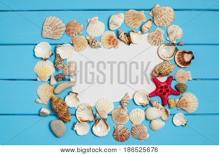 Summer background with the seashells and a blank note