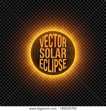 Vector solar Eclipse graphic Element. Realistic Sun with Beams