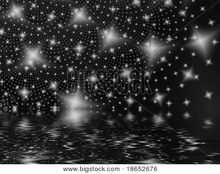 Fractal image of an abstract star galaxy or constellation reflected in water.