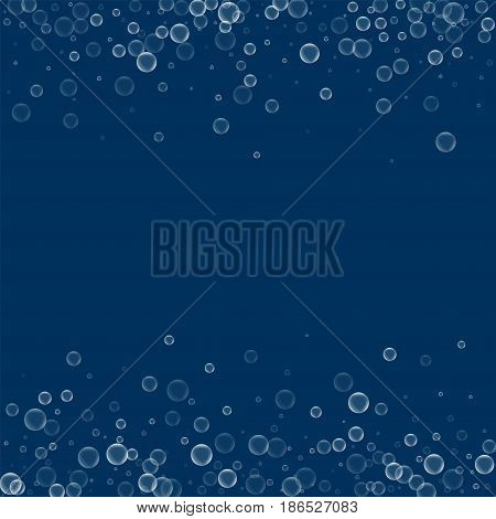 Soap Bubbles. Scattered Border With Soap Bubbles On Deep Blue Background. Vector Illustration.