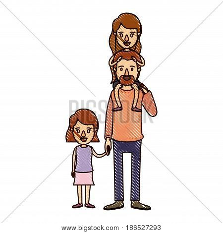 color crayon stripe cartoon dad with daugther on his back and girl taken hands vector illustration