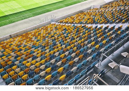 Lots of seats on the stadium
