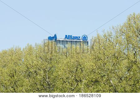 BERLIN GERMANY - MAY 08 2016: The Allianz complex in Alt-Treptow. Allianz is a German multinational financial services company the largest insurance company in the world.