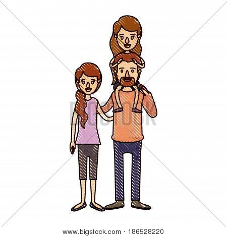 color crayon stripe cartoon family with mother and father with moustache and girl on his back vector illustration