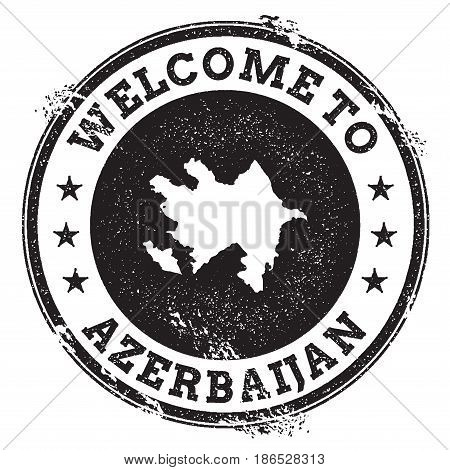 Vintage Passport Welcome Stamp With Azerbaijan Map. Grunge Rubber Stamp With Welcome To Azerbaijan T