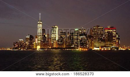 New York Skyline At Night From The Hudson River