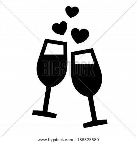 Wine glasses. Black icon isolated on white background