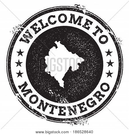 Vintage Passport Welcome Stamp With Montenegro Map. Grunge Rubber Stamp With Welcome To Montenegro T