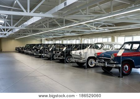 NOVI PETRIVTSI, UKRAINE - APRIL 2017: Classic cars in row. The Museum of Old Vehicles in residence of ex-president of Ukraine Viktor Yanukovich.