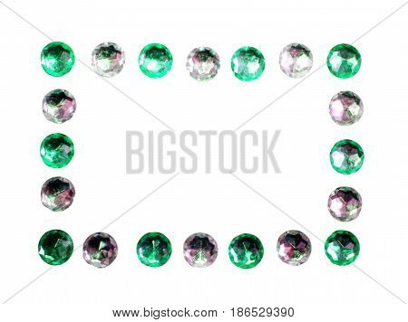Green and silver glossy glitter ring gems oblong frame background