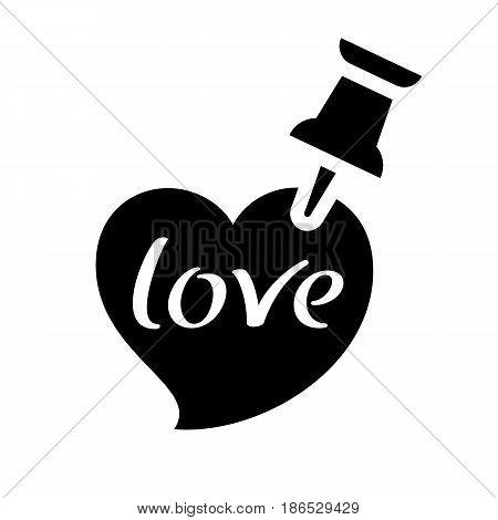 Love symbol. Black icon isolated on white background