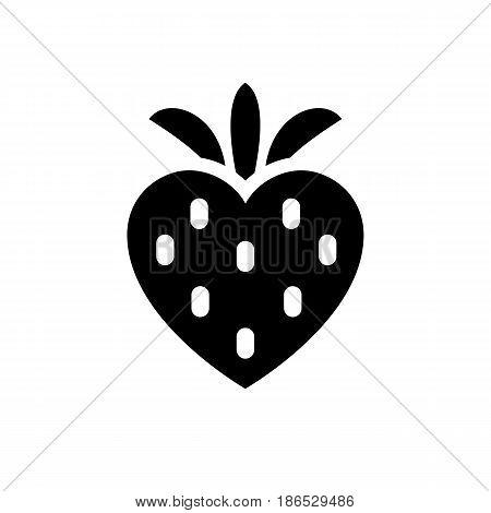 Strawberry. Black icon isolated on white background