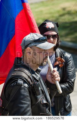 BERLIN - MAY 09 2016: Victory Day in Treptower Park. The representative of of Russian motorcycle club