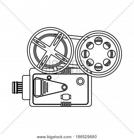 film projector icon image vector illustration design  single black line