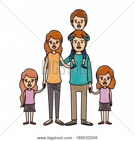color crayon stripe cartoon big family parents with boy on his back and daugthers taken hands vector illustration