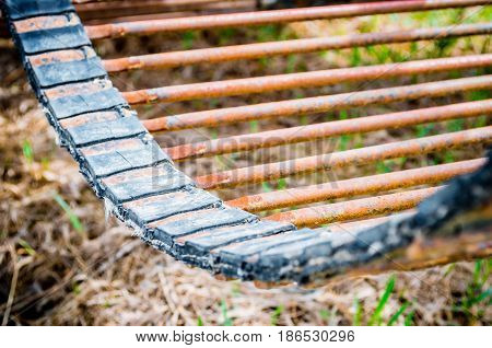 Old Rusty Metal Conveyor In Rural Machinery Machinery.