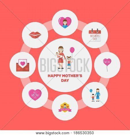 Happy Mother's Day Flat Layout Design With Best Mother Ever, Emotion And Son Symbols. Lovely Mom Beautiful Feminine Design For Social, Web And Print.