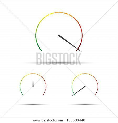 Set of simple vector tachometers with indicators in red yellow and green part speedometer icon performance measurement symbol isolated on white background