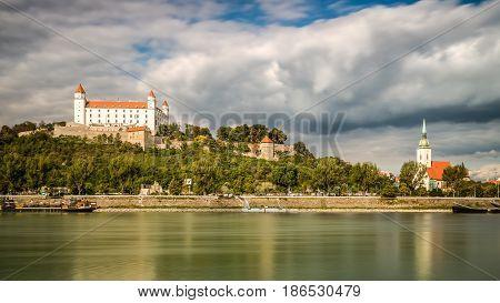 Bratislava castle and Danube river, Bratislava city Slovakia