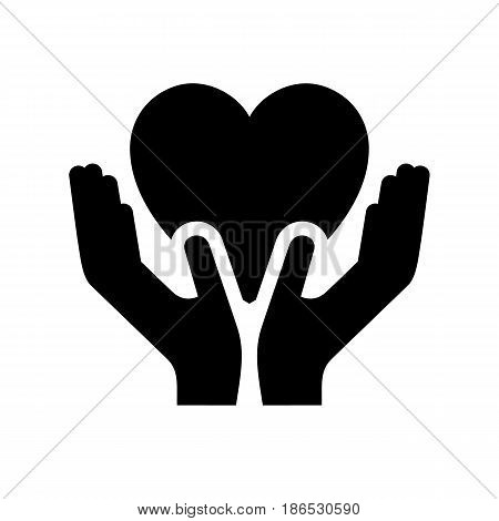 Hands. Black icon isolated on white background