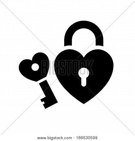 Lock and Key. Black icon isolated on white background