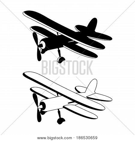 Vector illustration of retro biplane in black monochrome
