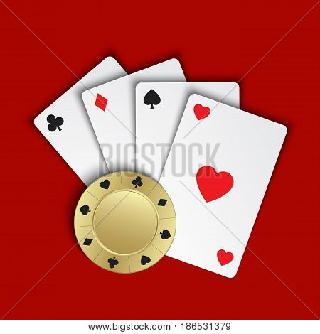 Set of simple playing cards with casino chips on red background vector illustration