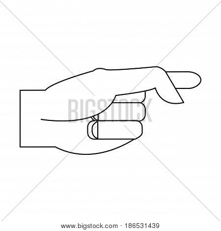 hand pointing with index finger icon image vector illustration design  single black line