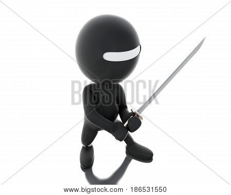 3D Ninja With Sword In Agressive Posture