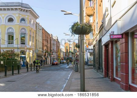 DUBLIN, IRELAND - March 31, 2017: Street view of church landmarks of Dublin Ireland