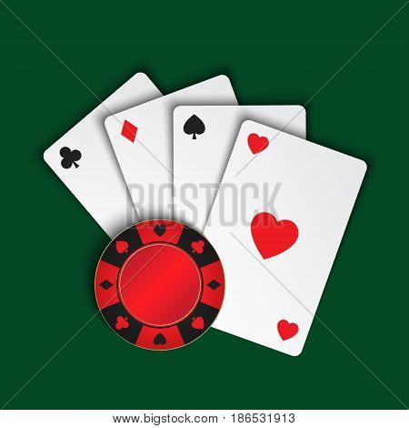 Set of simple playing cards with casino chips on green background vector illustration