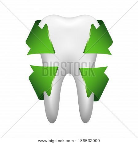 White tooth with four green arrows stomatology icon isolated on white background realistic vector illustration