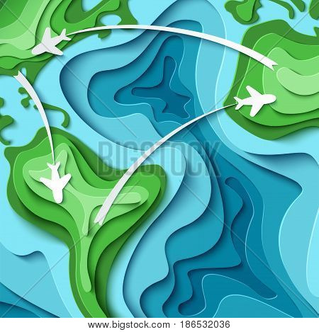 Paper planes flying across world map. Around the World - travel concept. 3d paper cut tourism design. Time to travel vector illustration. Vacation concept background