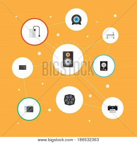 Flat Web Cam, Printing Machine, Slot Machine And Other Vector Elements. Set Of PC Flat Symbols Also Includes Hdd, Loudspeaker, Disk Objects.