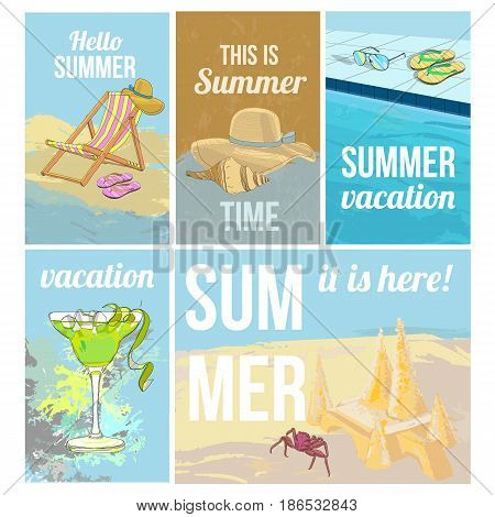 Colorful hand drawn summer vacation posters with recliner shell hat slippers sunglasses cocktail crab sand castle vector illustration