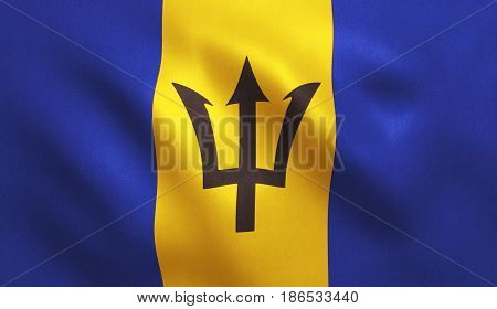 Barbados flag with fabric texture. 3D illustration.