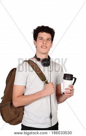 Portrait of young man drinking coffee. Isolated white background.