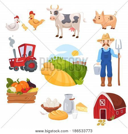 Big set of farm elements. Fresh green food, vegetables and diary, cattle, farm animals, house and farmer with tractor and tools.