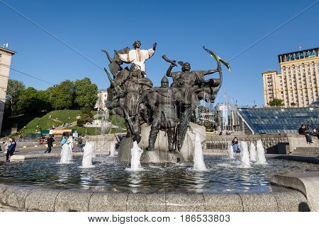 Statue Of Founders Of Kiev At Independence Square