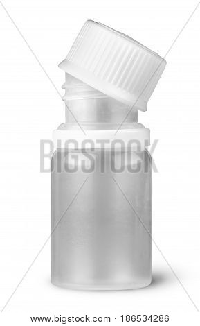 Small plastic bottle with lid removed isolated on white background