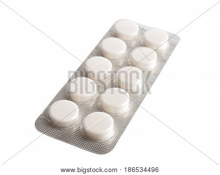 Blister pack of pills isolted on white background