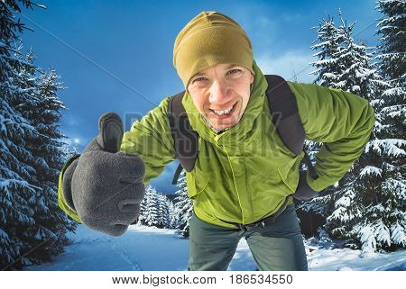 Smiling Active Hiker In A Forest