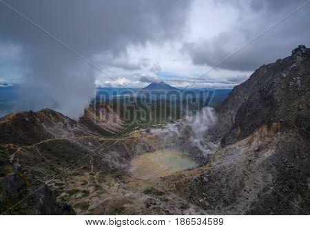 Caldera and Crater of Sibayak Stratovolcano and Sinabung Volcano at the far background, Northern Sumatra, Indonesia